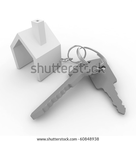 3d house with keys isolated on white - stock photo