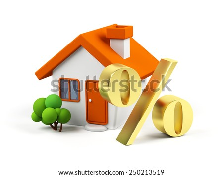 3d house with percent symbol - stock photo