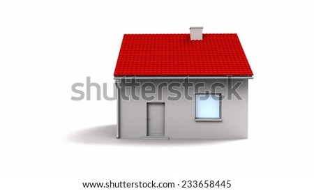 3d house with red roof - stock photo