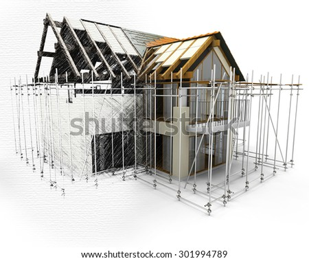 3D house with scaffolding with half in sketch phase - stock photo