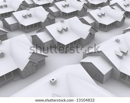 3d houses - stock photo