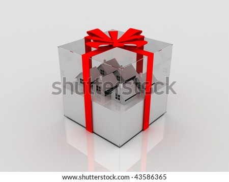 3d houses in glass gift box