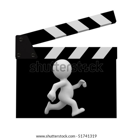 3d human actor run into a clapper - stock photo