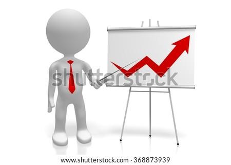 3D human alike character and prosperity chart. - stock photo