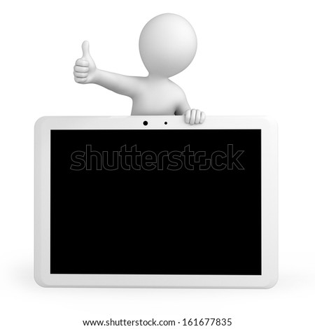 3d human and a tablet pc, 3d image with a work path - stock photo