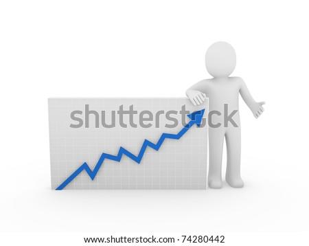 3d human arrow growth success business blue diagram - stock photo