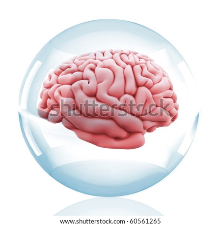 3D Human brain inside a crystal ball - isolated over a white background - stock photo