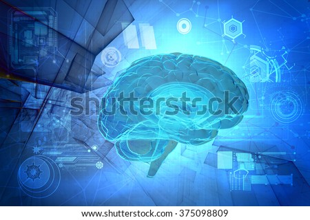 3d human brain on abstract tech background - stock photo