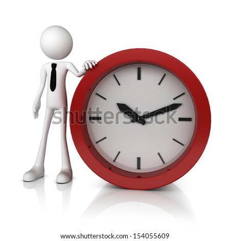 3D human business man with alarm clock. Isolated white background.