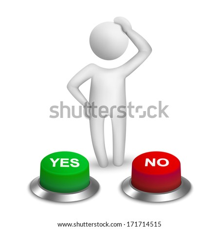 "3d human character choosing between ""yes""or ""no"" - stock photo"
