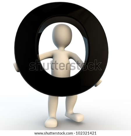 3D Human character holding black letter O, small people - stock photo