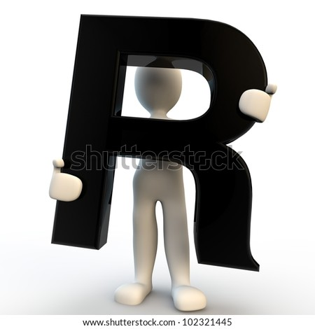 3D Human character holding black letter R, small people - stock photo