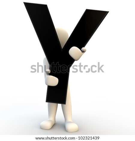 3D Human character holding black letter Y, small people - stock photo