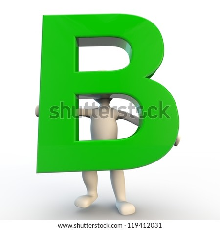 3D Human character holding green letter B - stock photo