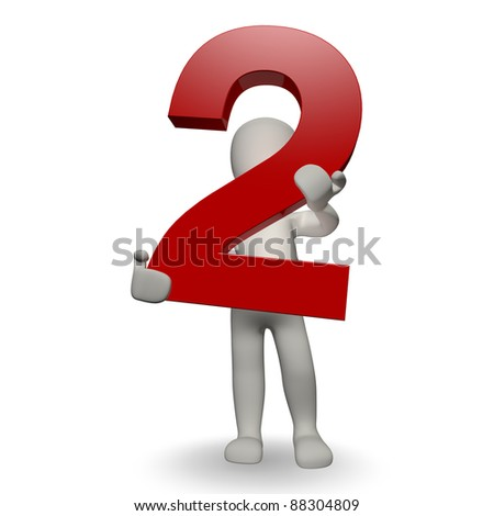 3D Human character holding number two, 3d render, isolated on white - stock photo