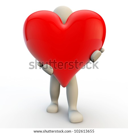 3d human character holds big red heart, 3d render - stock photo