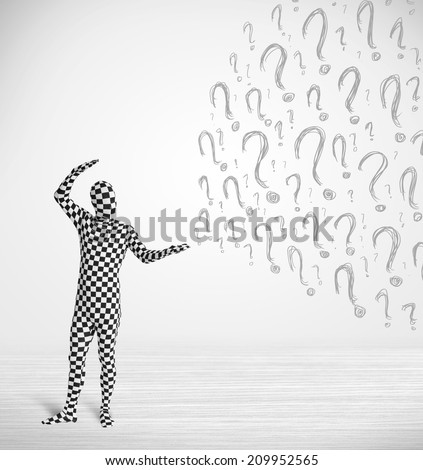 3d human character is body suit morphsuit looking at hand drawn question marks - stock photo