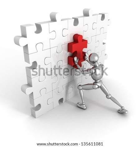 3d human character pushing different last puzzle piece in wall - stock photo