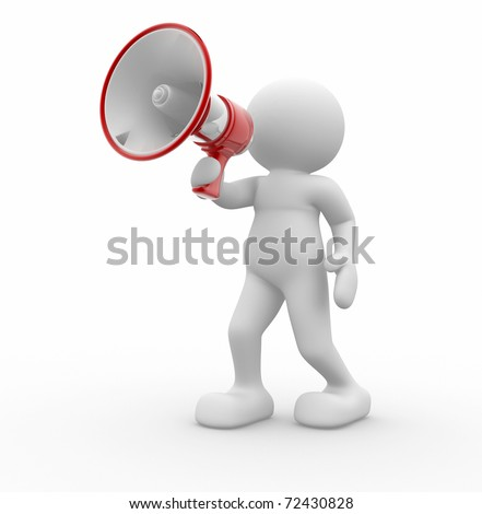 3d human character with a red megaphone - 3d render - stock photo