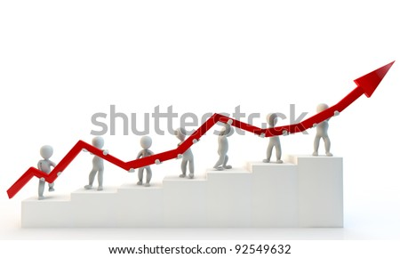3D Human charcter holding big red arrow, 3d render, isolated on white - stock photo