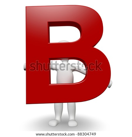 3D Human charcter holding red letter B, 3d render, isolated on white - stock photo