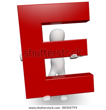 3D Human charcter holding red letter E, 3d render, isolated on white - stock photo