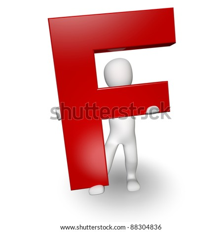 3D Human charcter holding red letter F, 3d render, isolated on white - stock photo