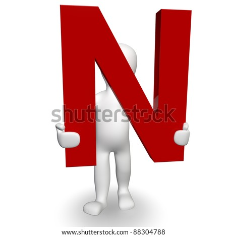 3D Human charcter holding red letter N, 3d render, isolated on white - stock photo