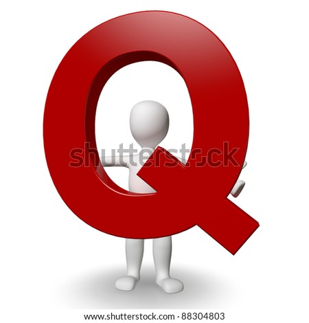 3D Human charcter holding red letter Q, 3d render, isolated on white - stock photo