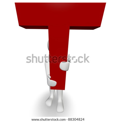 3D Human charcter holding red letter T, 3d render, isolated on white - stock photo