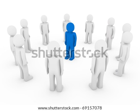 3d human circle blue white business group teamwork - stock photo