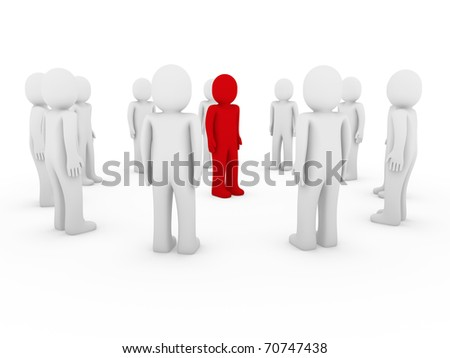 3d, human, circle, red, white, teamwork, business, group