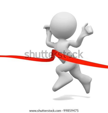 3d human crossing the finishing line. 3d illustration - stock photo