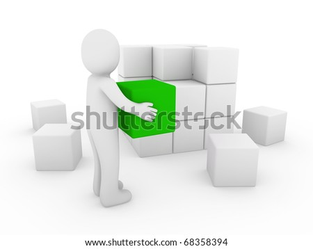 3d human cube box green white success business isolated