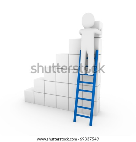 3d human cube ladder blue white success business isolated - stock photo