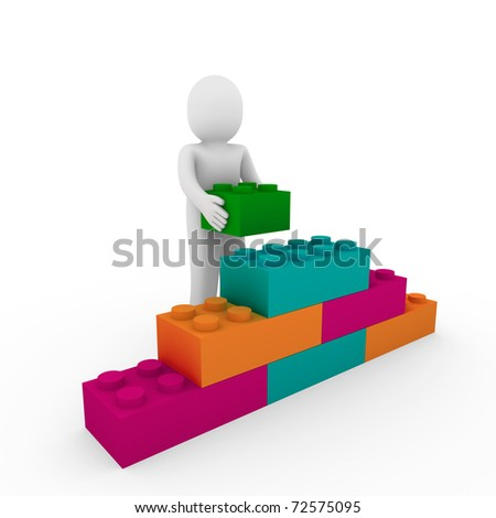 3d human cube stone orange pink green business - stock photo