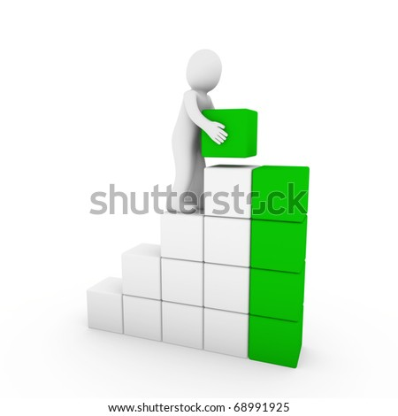 3d human cube tower green white success business isolated - stock photo