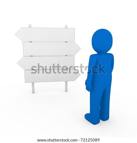 3d human direction sign way blue arrow business - stock photo
