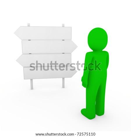 3d human direction sign way green arrow business - stock photo