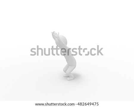 3d human doing yoga exercise isolated on white background, stick man, rendering, Chair pose