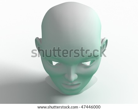 3d human face - stock photo