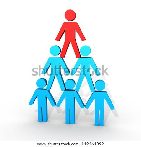 3d human figures form a human pyramid - stock photo