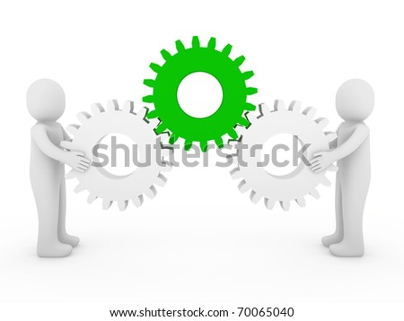 3d human gear green white business isolated background - stock photo