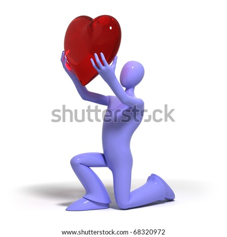 3d human give heart - stock photo