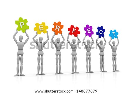 3D Human hand up with Perfect Sign - stock photo