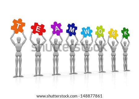 3D Human hand up with Teamwork Sign - stock photo
