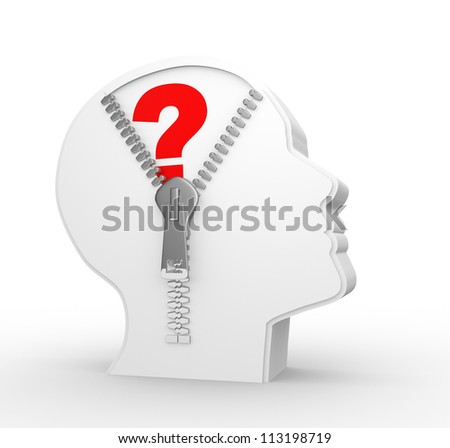 3d human head and a open zipper. Question mark - stock photo