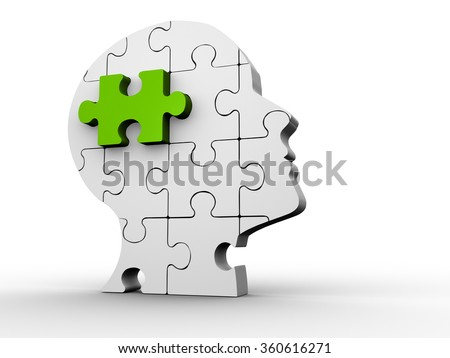 3d Human head made of puzzle  - stock photo