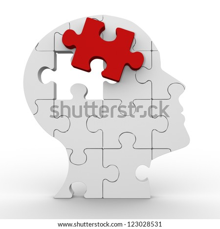 3d Human head made of puzzle. 3d render - stock photo