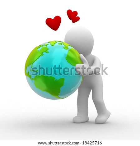 3d human hug the planet and love it